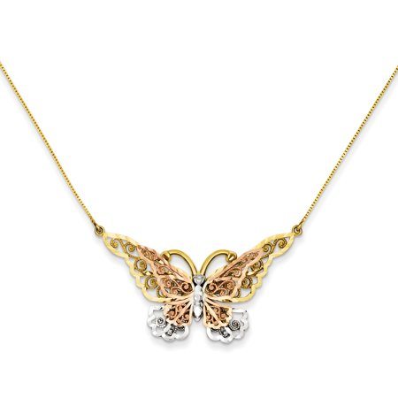 14k Yellow Gold Butterfly Pendant - 14kt Yellow Rose Gold Butterfly Chain Necklace Pendant Charm Animals/insect Fine Jewelry Ideal Gifts For Women Gift Set From Heart