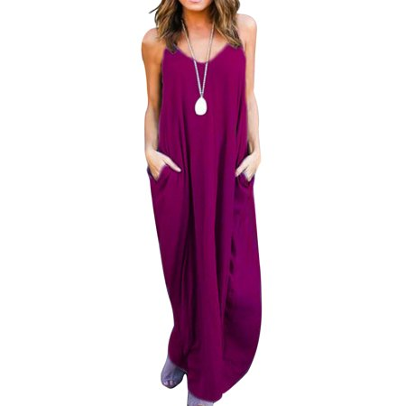 Women Boho Style Spaghetti Strap Sleeveless Long Beach Sundress Casual Loose Long Maxi V Neck Dresses