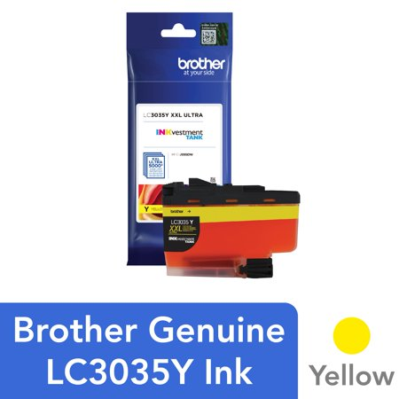 Brother Genuine LC3035Y, Single Pack Ultra High-yield Yellow INKvestment Tank Ink Cartridge, Page Yield Up To 5,000 Pages, LC3035 Genuine Yellow Ink Tank