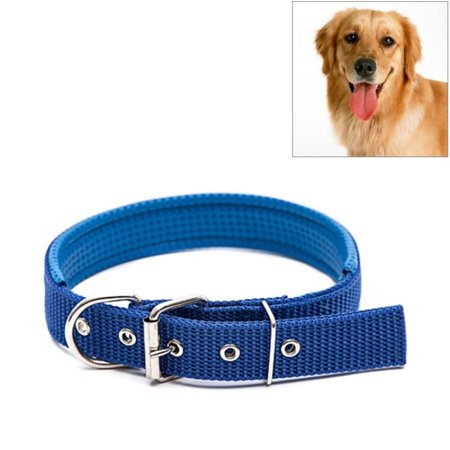 - Adjustable Dog Collar with Metal D Ring & Buckle Pet Collars Neck Strap Padded Foam Cotton Polyester Neckband, 3cm x 47cm - Blue