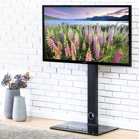FITUEYES TV Stand with Swivel Mount for up to 55 inch Samsung Vizio TCL LED LCD flat screen TVs TT106001MB ()