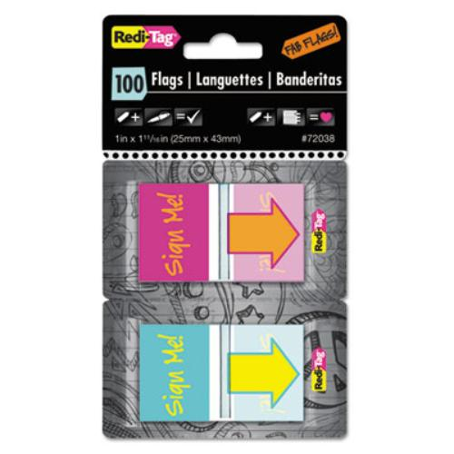 "Redi-tag Self-adhesive Fab Flags - Self-adhesive, Repositionable, Removable, Residue-free, Writable, Reusable - 1"" X 1.68"" - Sign Me! - Magenta, Orange, Yellow, Teal - 100 / Pack (72038)"