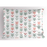 Geometric Pillow Sham Abstract Design with Chevron Triangles and Stripes Dots Modern Image, Decorative Standard King Size Printed Pillowcase, 36 X 20 Inches, Pale Blue and Pink, by Ambesonne