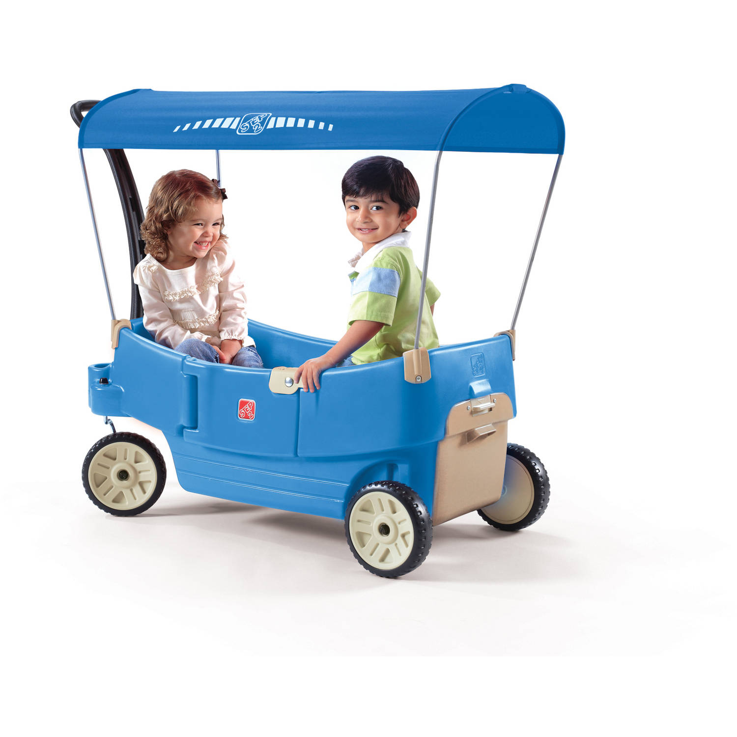 Step2 All Around Canopy Wagon, Seats flip into a flatbed, seat or table, Blue