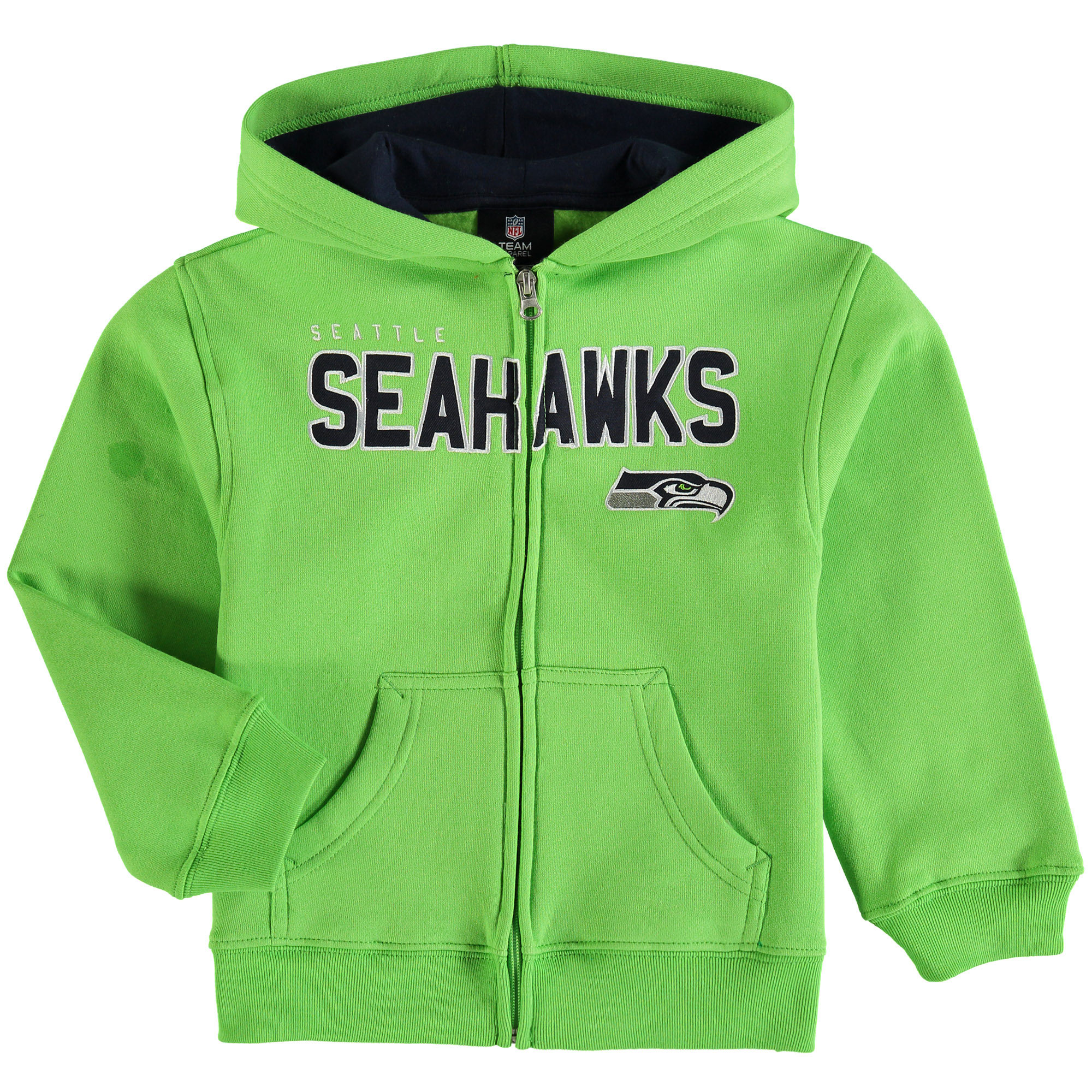 Seattle Seahawks Preschool Fan Gear Stated Full-Zip Hoodie - Neon Green - 7