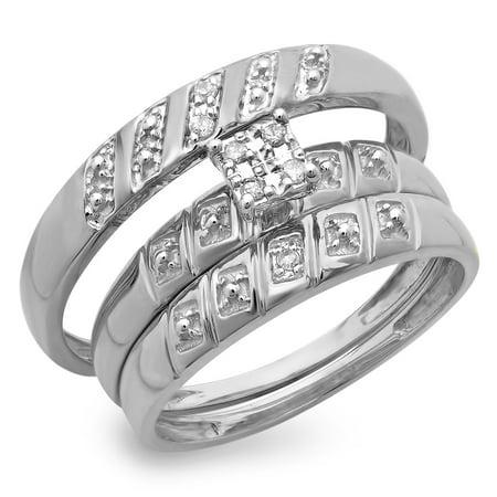 0.08 Carat (ctw) 10K Gold Round White Diamond Men & Women's Engagement Ring Bridal Trio Set
