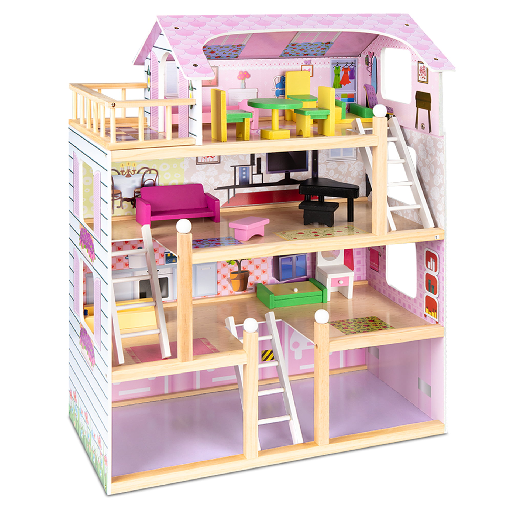 Kids doll accessories bedroom furniture lovely bed dollhouse toy set for doll BS