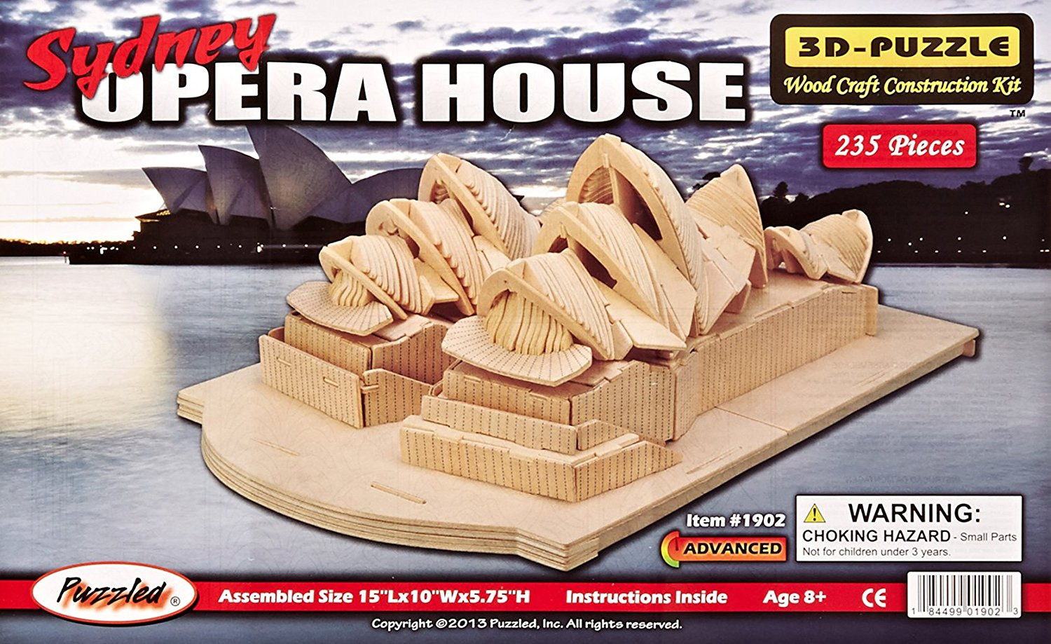 3D Natural Wood Puzzle Opera House, Piece count 128 By Puzzled by