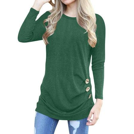 e667d35c6a Nlife - Nlife Women Long Sleeve Round Neck Solid Color Button Design Top -  Walmart.com