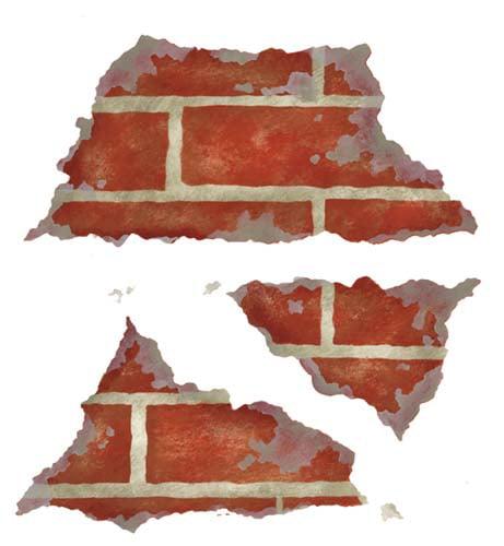 Triple Crumbling Brick Wall Stencil SKU #3035 by Designer Stencils