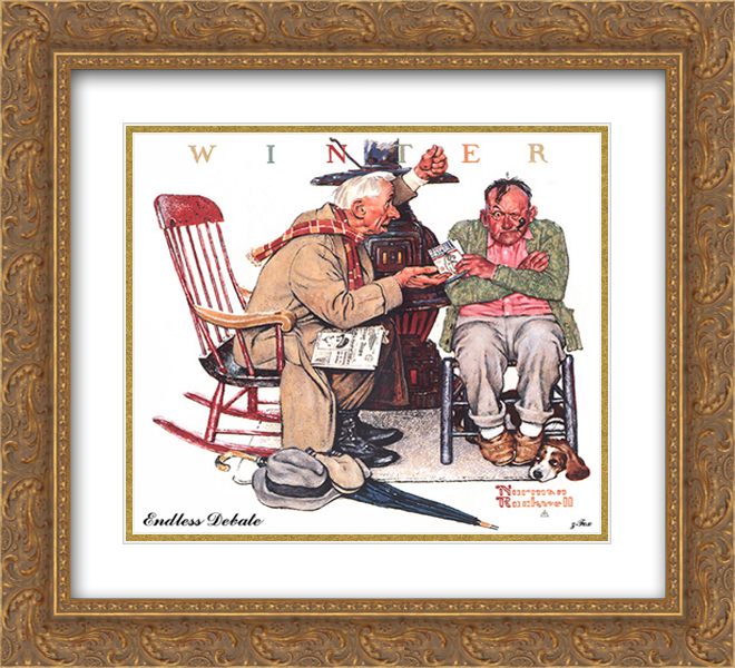 Norman Rockwell 2x Matted 22x20 Gold Ornate Framed Art Print 'Endless Debate'