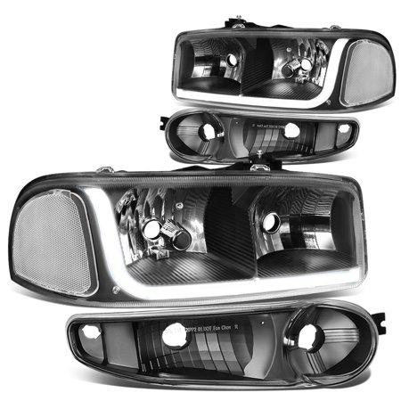 For 2001 to 2007 GMC Sierra 1500 Classic / Yukon Denali LED DRL Light Bar Headlight+Bumper Lamp Black Housing Clear Corner 02 03 04 05