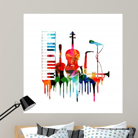 Colorful Musical Instruments Design Wall Mural by Wallmonkeys Peel and Stick Graphic (48 in H x 46 in W) WM170512 ()