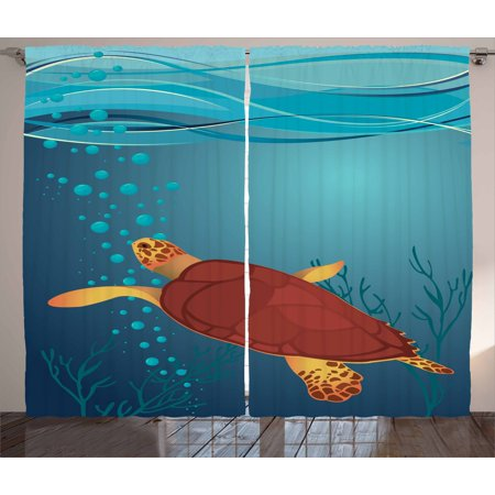 Air Curtain Bubble (Turtle Curtains 2 Panels Set, Cartoon Illustration of a Coffee Color Tortoise with Air Bubbles Corals and Seaweeds, Window Drapes for Living Room Bedroom, 108W X 63L Inches, Multicolor, by)