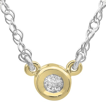 0.33 Carat (ctw) 14K Gold Round Diamond Ladies Bezel Set Solitaire Pendant 1/3 CT