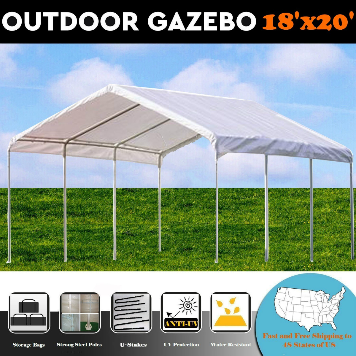 18'x20' Multi-Use PE Shelter Party Tent Canopy Carport - ...