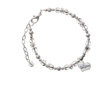 Silvertone Small ''Daughter'' Heart with Clear Crystal Clear Beaded Bracelet Clear Small Stone Bracelet