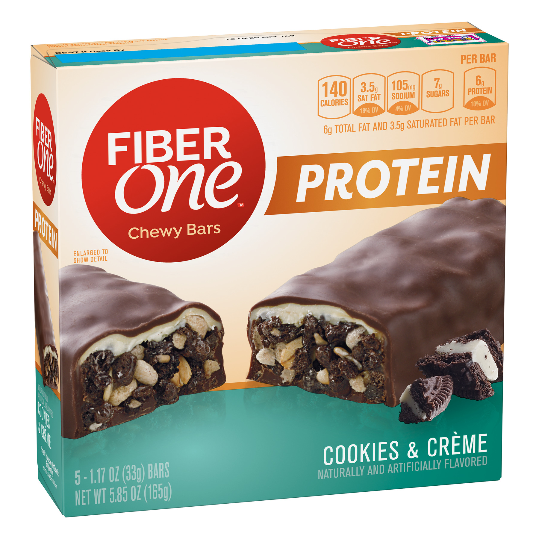 Fiber One Protein Chewy Bar, Cookies & Crème, 6g Protein, 5 Ct