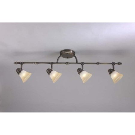 - Aztec Lighting Transitional Antique Brass 4-light Rail/ Semi-flush Fixture