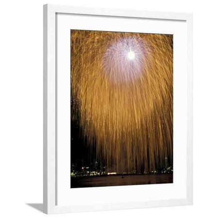 Fourth of July Fireworks over Lake Union, Seattle, Washington, USA Framed Print Wall Art By Jamie & Judy Wild