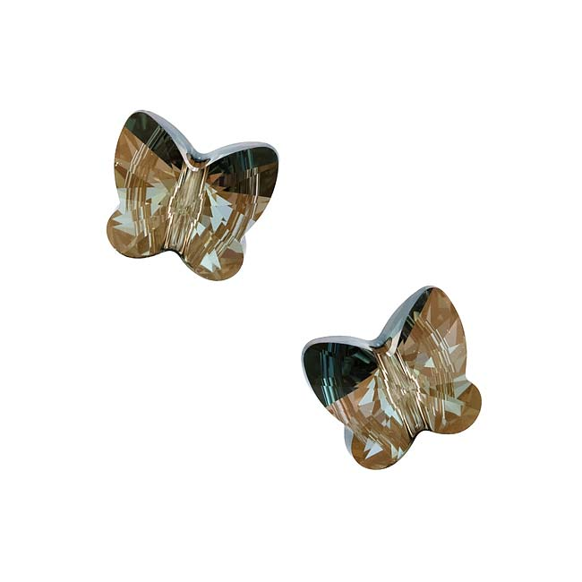Swarovski Crystal, #5754 Butterfly Beads 12mm, 2 Pieces, Crystal Bronze Shade