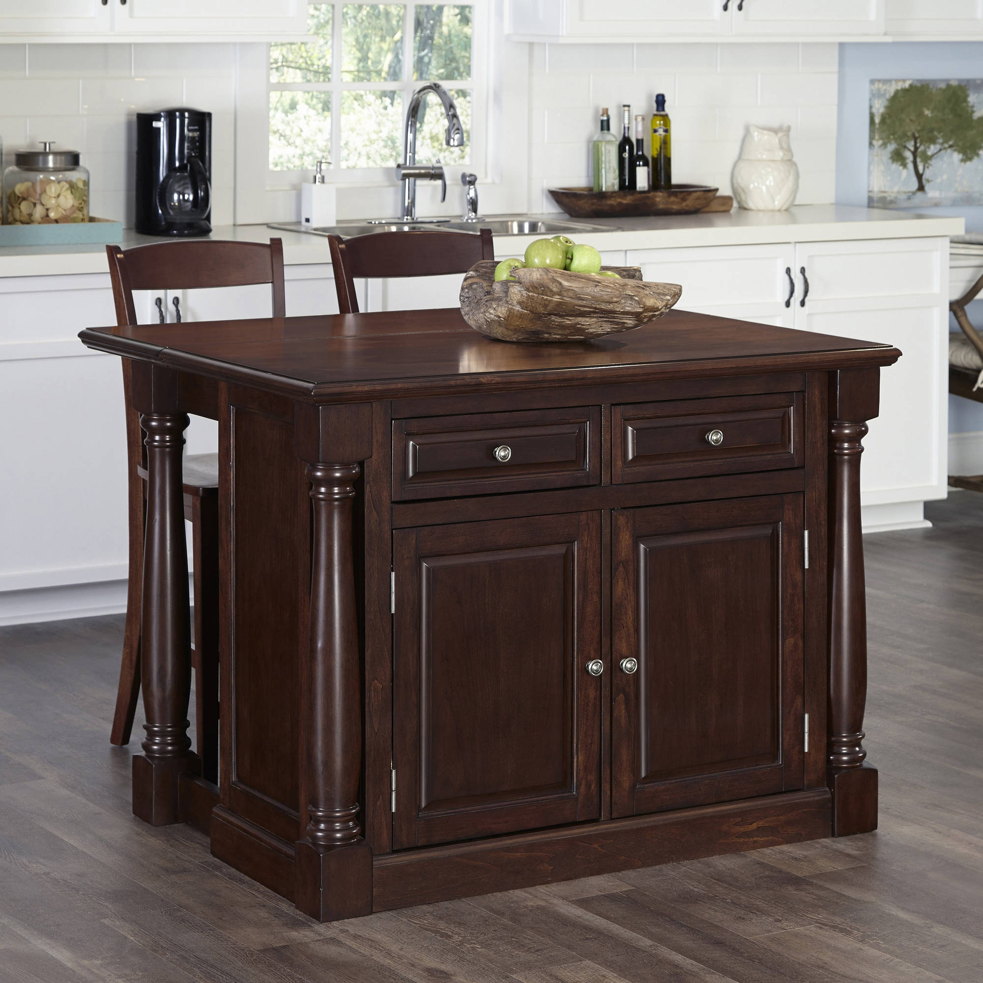 cherry kitchen islands kitchen island with two stools in cherry finish walmart 10982