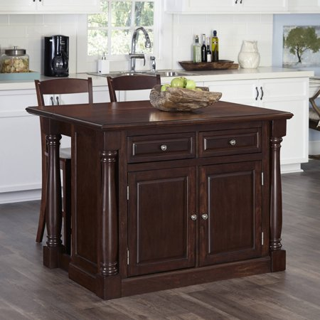Kitchen Island With Two Stools In Cherry Finish Walmart Com