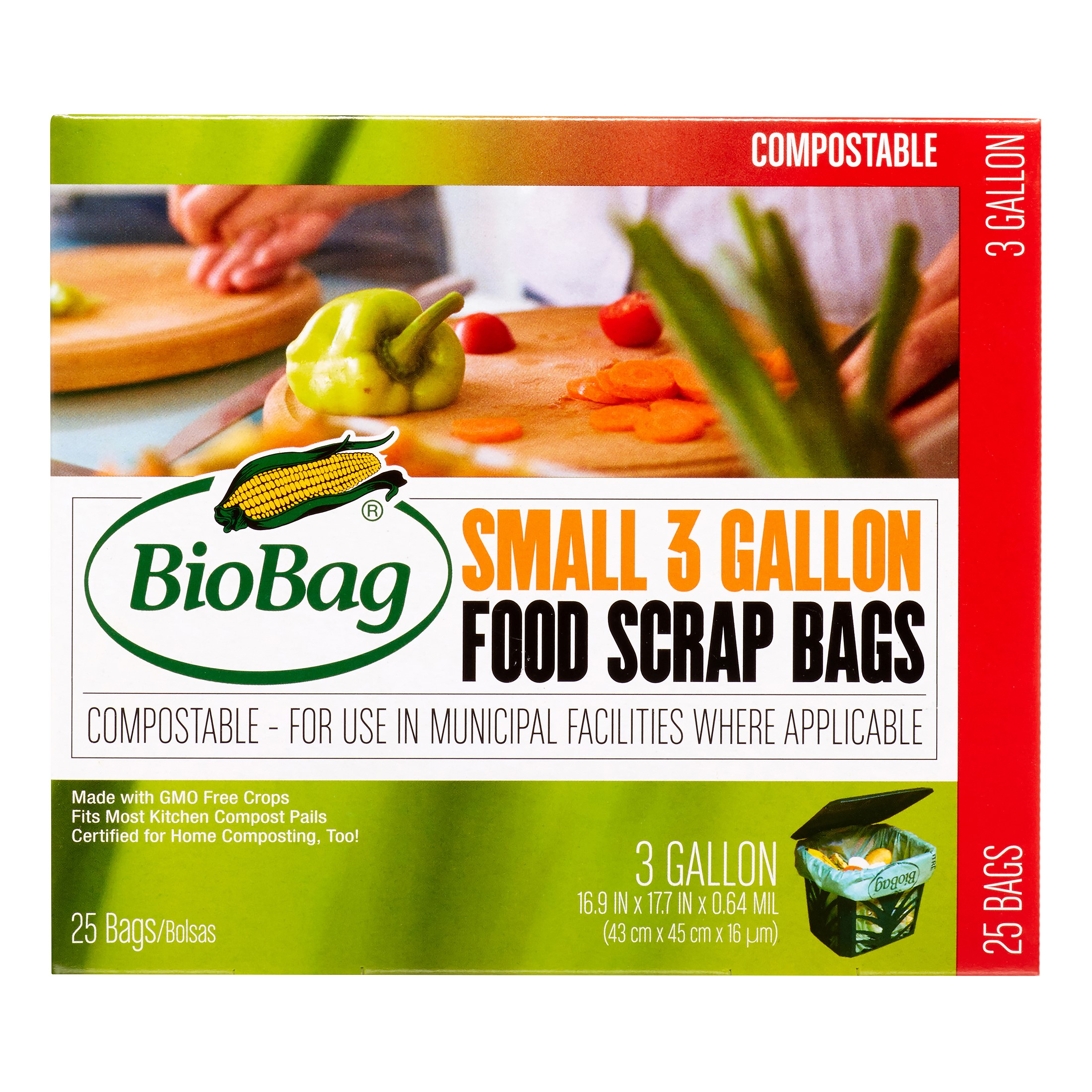 BioBag Small Green Compostable Garbage Bags, 3 Gallon, Green, 25 Ct