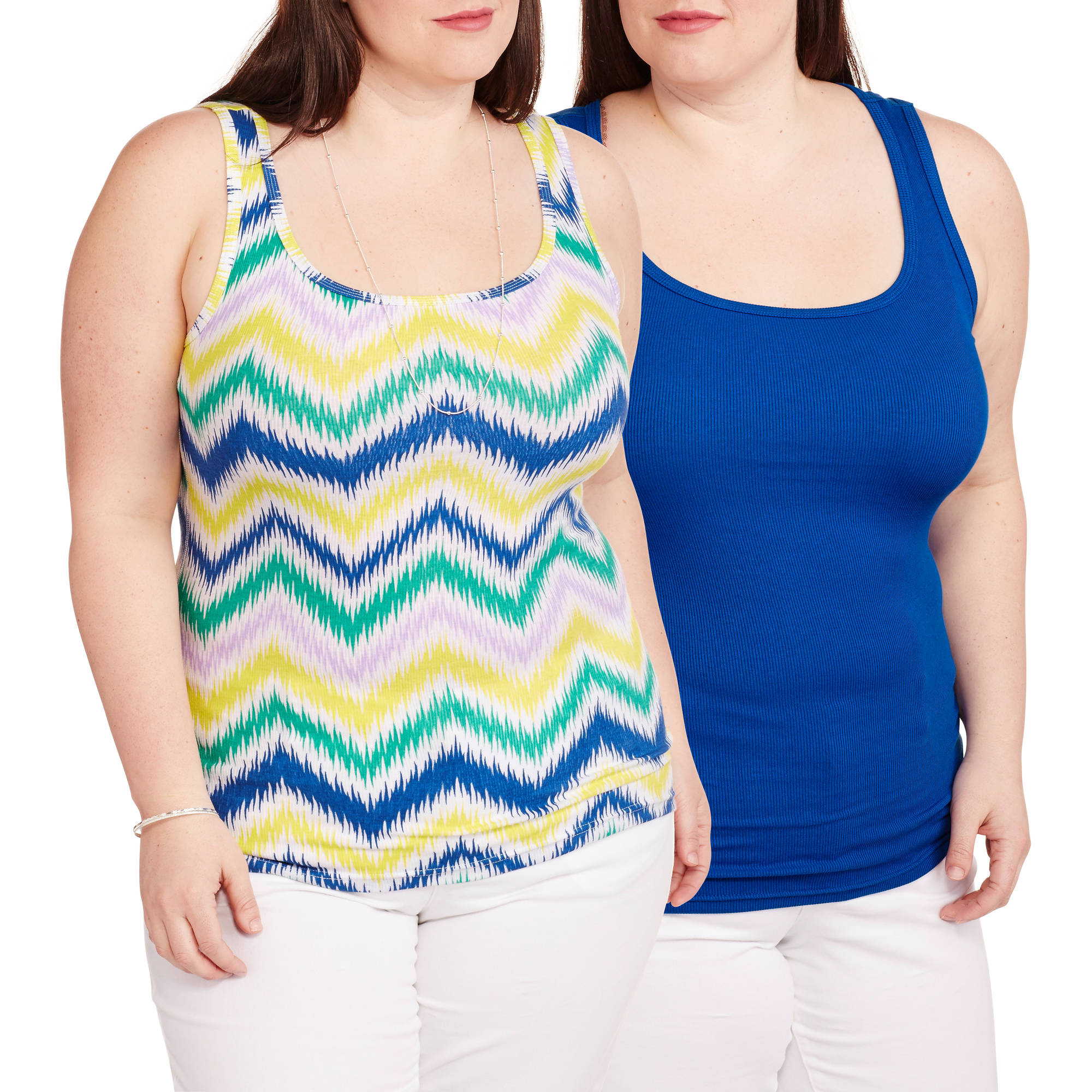 Faded Glory Women's Plus-Size Essential Rib Tank, 2 Pack Value Bundle