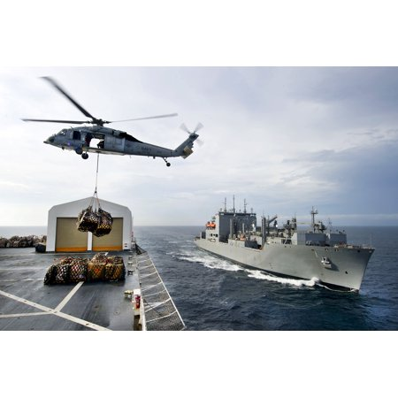 Laminated Poster An Mh 60S Knight Hawk Helicopter Transports Cargo From The Usns Comfort To The Usns Lewis And Clark Poster Print 24 X 36