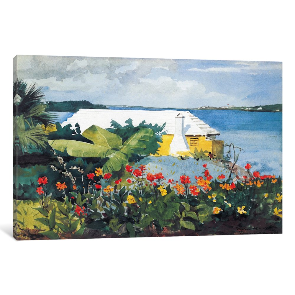 iCancas Flower Garden and Bungalow, Bermuda 1899 Gallery Wrapped Canvas Art Print by Winslow Homer