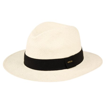 Mens Panama Wide Brim Fedora Straw Hat Indiana Jones Style Summer Cool Hat (Real Fedora)