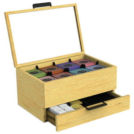 Tuck Box Tea Room - Mind Reader Tea Bag and Condiment Accessory Organizer, Blonde Wood 13 1/5x4 2/5x10 2/5