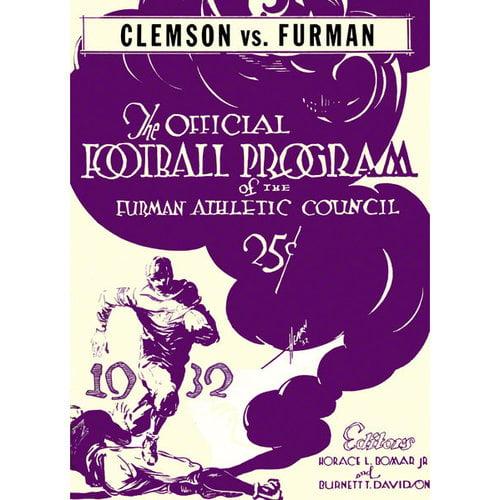 NCAA - 1932 Furman vs. Clemson 36 x 48 Canvas Historic Football Print