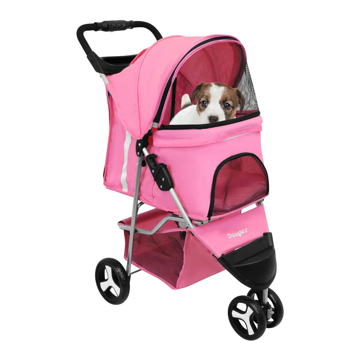 Magshion Premium Folding Pet Cat Dog Stroller Cart Travel Carrier Up To 30lbs Black