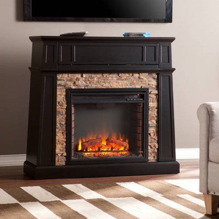 Southern Enterprises Remington Media Electric Fireplace with Faux Stone,for TVs up to 42