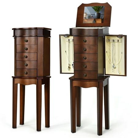 Jewelry Cabinet Armoire Storage Box Stand Chest Organizer ...