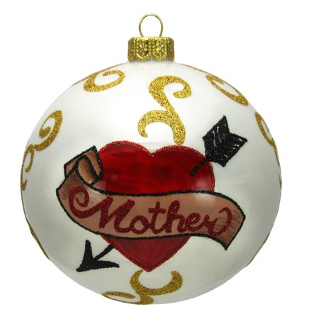 Mother Mom Heart with Arrow Tattoo Design Polish Glass Ball Christmas Ornament