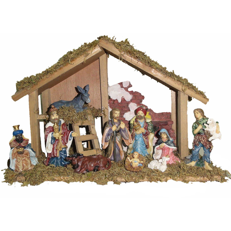 "Kurt Adler 15"" Wooden Stable with 10 Resin Figures Nativity Set"