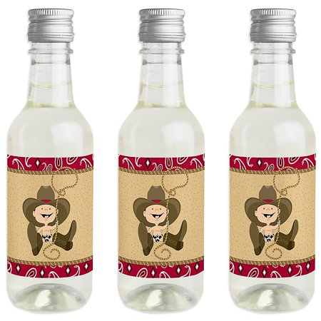 Little Cowboy - Mini Wine and Champagne Bottle Label Stickers - Western Baby Shower or Birthday Party Favor Gift for Women and Men - Set of 16](Little Bottles Of Champagne)