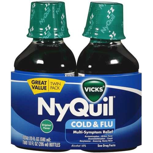 Vicks Nyquil Cold & Flu Original Flavor Twin Pack Multi-Symptom Relief 20 Oz