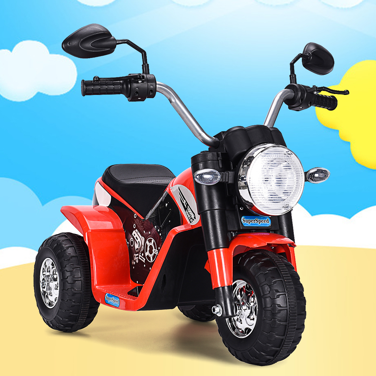 6V Kids Ride On Motorcycle Toy Battery Powered Electric 3 Wheel Bicycle Red by Jaxpety