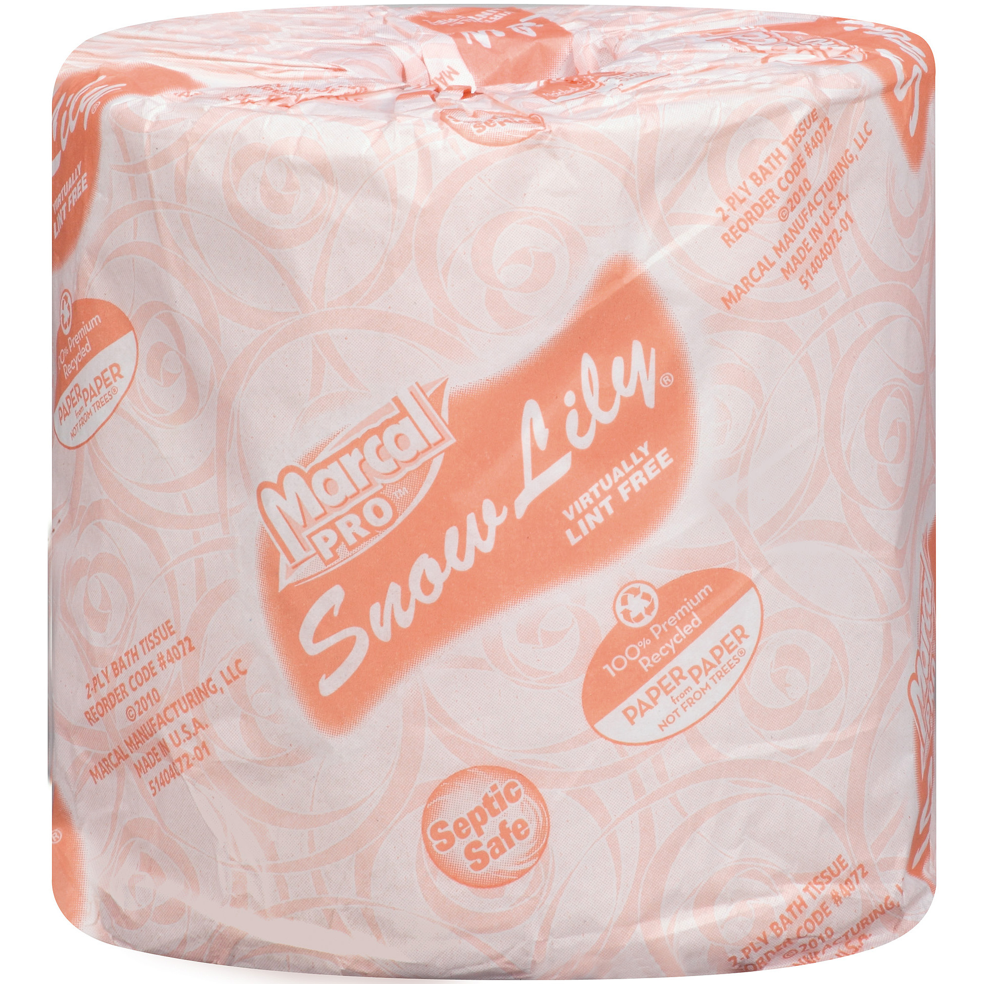 Marcal Pro Snow Lily 100% Premium Recycled Bath Tissue, 336 sheets, 48 rolls
