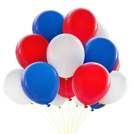 Novelty Place Patriotic Decoration Balloons - 100Pcs Red & White & Blue Thicken Latex - Best Selection for 4th of July Events National Day Birthday Party Favors Celebration Gala Décor (Best Place For 1st Birthday Party)