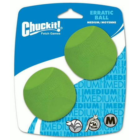 Chuckit! Erratic Rubber Dog Toy Ball, Medium, 2 Count