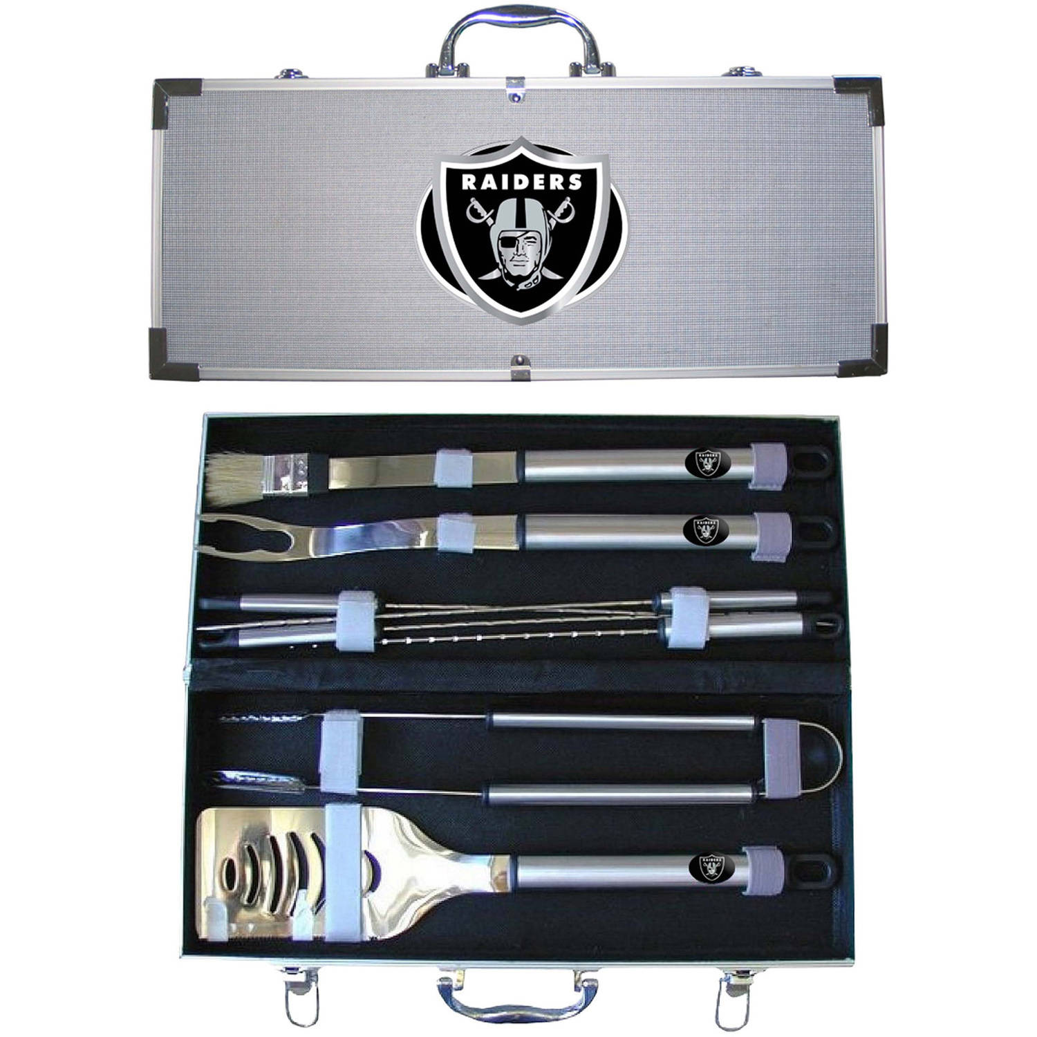 NFL 8-Piece BBQ Set with Hard Case, Oakland Raiders