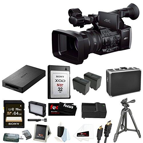 Sony FDRAX1 4K Camcorder Video Camera + Medium Hard Case + Replacement Digital Camera Battery + Accessory Kit