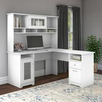 Bush Furniture Cabot 60W L Shaped Computer Desk with Hutch