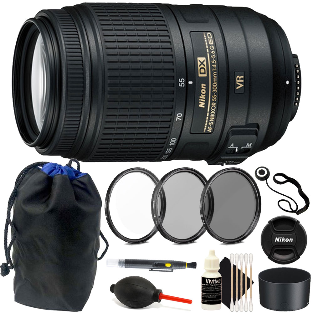 Nikon 55-300mm VR Lens Kit for Nikon D3400 D5300 D5500 D7...