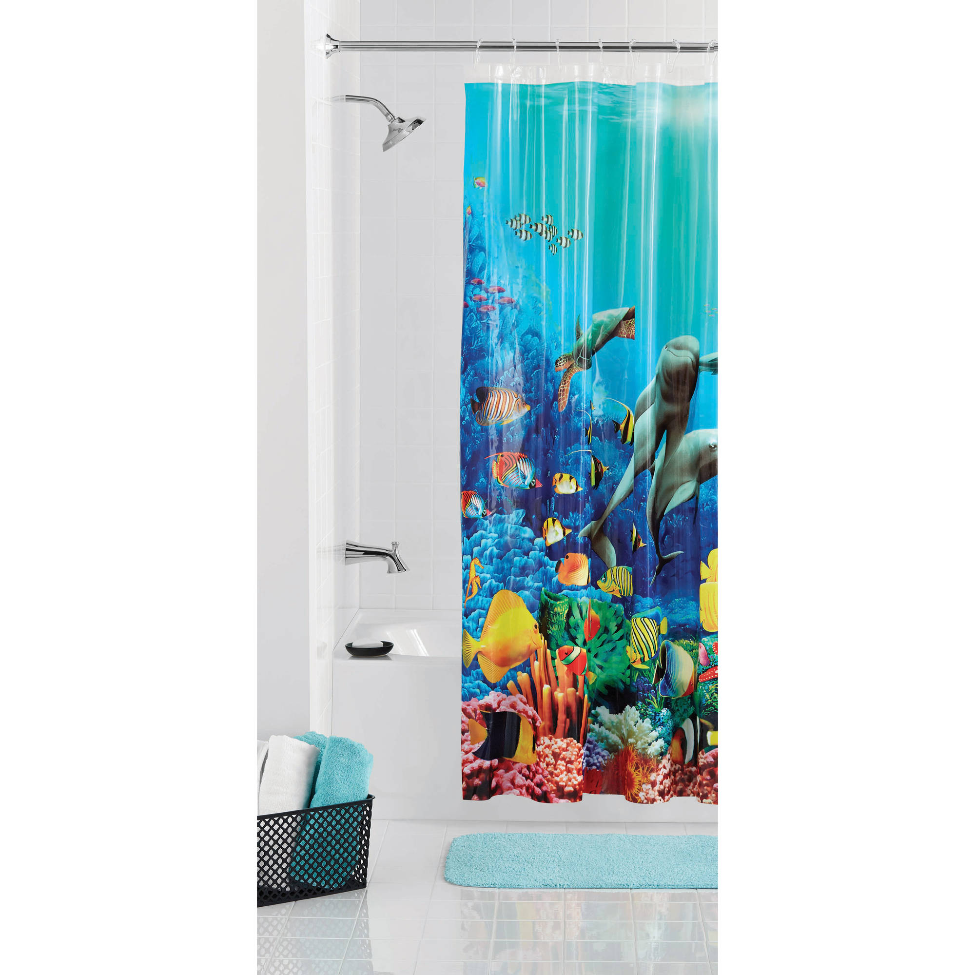 Teal shower curtain turquoise shower curtain abstract for Coral reef bathroom decor